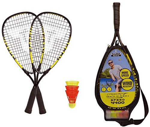 Talbot-Torro Speed-Badminton Set Speed 4400, 2 handliche Alu-Rackets 54,5cm, 3 windstabile Bälle, im 3/4 Bag, gelb-schwarz, 490114