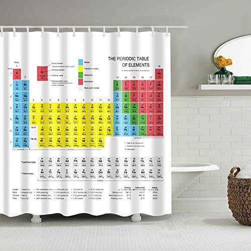QAQ Starry Sky periodiek systeem van elementen, douchegordijn, waterdicht, polyester, wasbaar