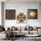 Pittura a olio geometrica astratta in oro e nero su tela Poster e stampe Immagini da parete di arte scandinava per soggiorno 20x20 CM (sans cadre)