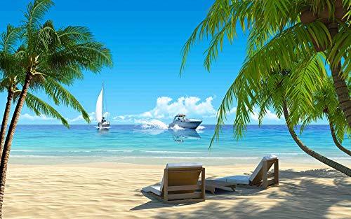 Disfrute de las tumbonas de Hall Beach Crucero Árbol de coco Buen clima con cielo azul y nubes blancas Mural 3D nórdico personalizado Dormitorio moderno Hotel KTV fondo de pantalla restaurante-1