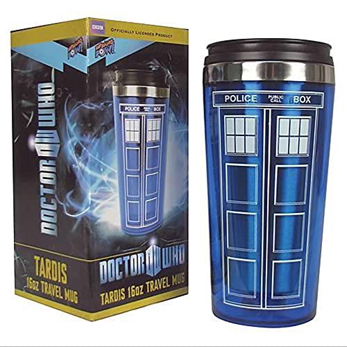 WWPP 16oz Doctor Dr. Who Tardis Kaffeetasse mit Deckel Kaffeetasse Edelstahl Thermoskanne Weihnachten Lehrertag Vatertag Neujahr Kreative Geschenke.450Ml