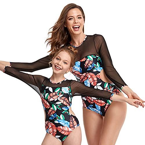 WBLKD Mamá Y Yo Swimwear Familia a Juego con Un Traje De Baño De Una Pieza para Mujer Rashguard Girls Bikini Conjuntos Blue- Adult M