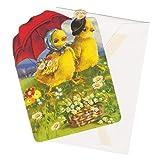 パンチスタジオ 【イースター】 スモール グリーティングカード 封筒セット (日傘×ヒヨコ) 57326
