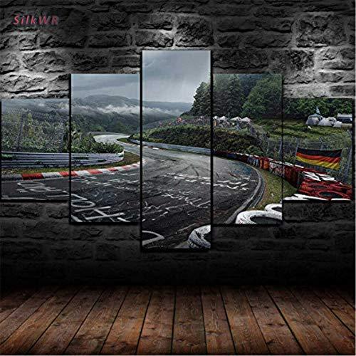 SilkWR-Impresiones sobre Lienzo,Modular Mural Pegatinas Póster,5 Piezas Cuadro,Habitacion Decoracion,Regalo,con Marco,Talla:M,Circuito De Rally De Nurburgring