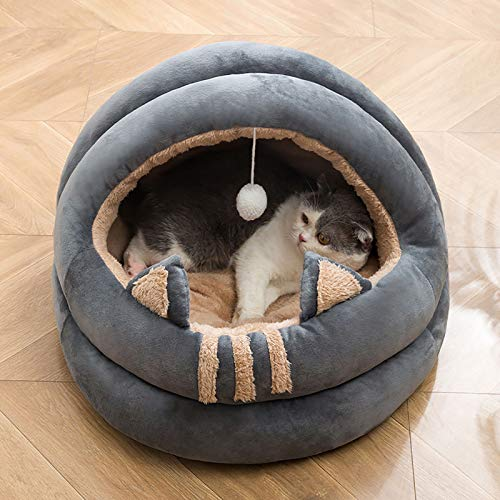 GCP Not-slip Warm Dog House Bed,Semi-enclosed Washable Plus Velvet Dog Bed Cat Bed,All-season Soft Basket Cave Bed