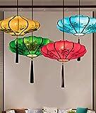 Lampadari Camera Da Letto, Lampade A Sospensione Cucina E Plafoniere Soggiorno,Luci Del Corridoio,Lanterna Antica In Stoffa Dipinta A Mano In Stile Cinese D50Cm Rossa