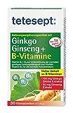 tetesept Ginkgo, Ginseng + B-Vitamine – Nahrungsergänzung zur Unterstützung von Konzentration, geistiger Leistungsfähigkeit & Gedächtnis – 30 Tabletten