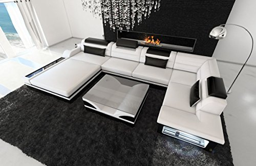 Sofa Dreams Leder Wohnlandschaft Mezzo U Form Weiss-schwarz