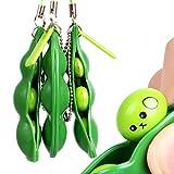 sbay 3 piezas Fidget Toys Puchi Puti Mugen Edamame Keychain Extrusion Bean Keyring Toy Gift