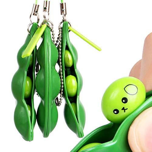 lo 3Pcs Fidget Toys Puchi Puti Mugen Edamame Keychain Extrusion Bean Keyring Toy Gift