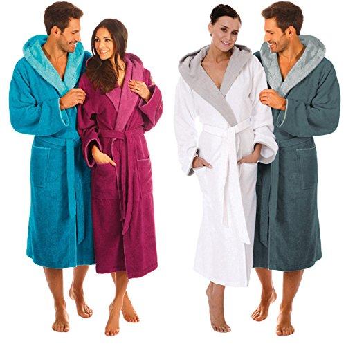 Peignoir de bain Egeria Cairo unisexe avec capuche pour homme et femme, Coton, 385/326 Dark Blue/Atlantic Blue, m