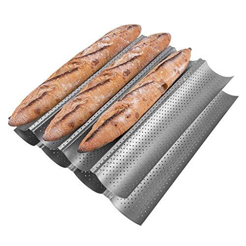 KITESSENSU Antihaft Baguette Backform, Baguette Blech 4-Baguette-Tablett mit perforierter Oberfläche, 39 x 32, Silber, 2er-Set