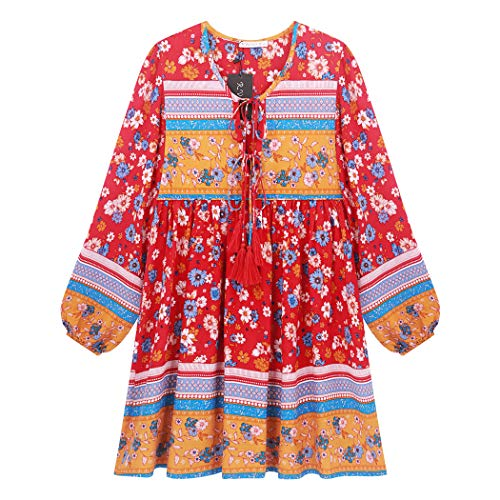 R.Vivimos Womens Long Sleeve Floral Casual Print Cotton Mini Tunic Dress (Large, Red#2)