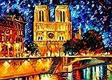N/C Pintura al óleo DIY por número Kit Abstracto Notre Dame Dibujo con Pinceles 16x20 Pulgadas Navidad Decoración de Halloween Decoraciones Regalos