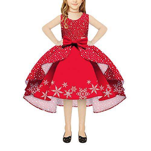 LFANH Weihnachtskostüm für Mädchen, Schneeflocken-Druck, niedlich, ärmellos, Rundhalsausschnitt, Reißverschluss, Kleid, Geburtstag, Hochzeit, Party, Prinzessin, Abschlussball, Kleider, B, M