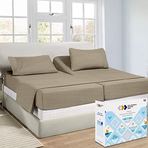 Split-King Sheets Sets for Adjustable Bed - Khaki...