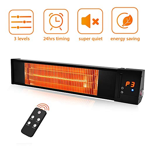 TRUSTECH Patio Heater - Adjustable 1500W Infrared Heater, Electric Heater w/1s-Fast Heating & Remote Control, 24H Timer Overheat Protection, Super Quite Space Heater in/Outdoor heaters Patio