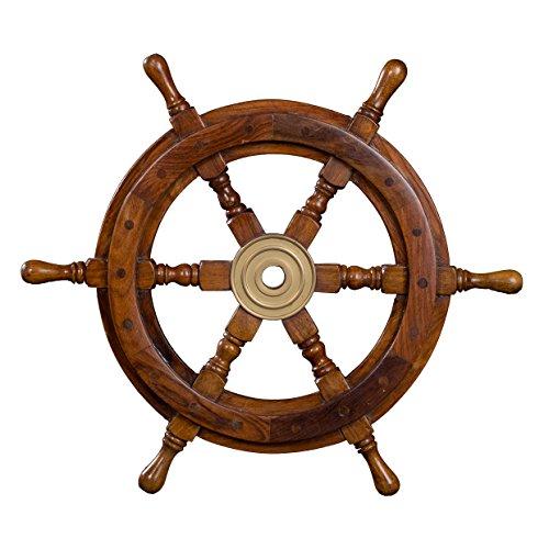 Timón decorativo de madera con buje de latón, de S a XL, aspecto náutico, barco, marítimo (Tamaño XL – 60 cm)