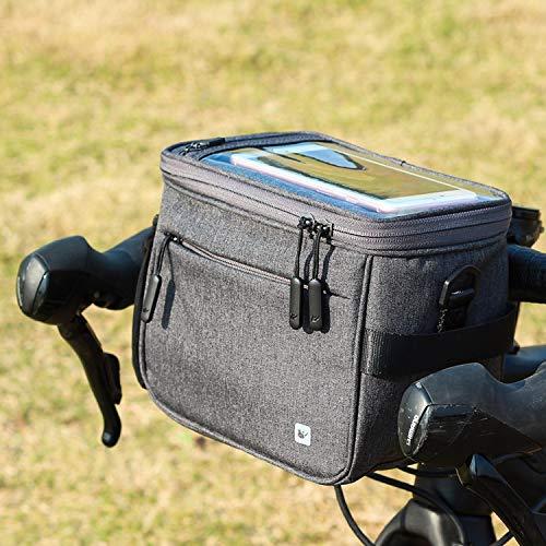 Asvert Fahrrad Lenkertaschen multifunktional Wasserdicht Fahrradtasche mit Regen Abdeckung für MTB Stadt Pendler (Grau)