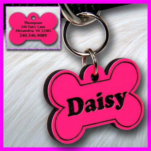 Personalized Custom Engraved Plastic Pet Dog ID Tag 2-sided Bone Pink/Black