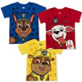 Nickelodeon Paw Patrol Boy's 3-Pack Chase, Marshall and Rubble Tees, Blue/Yellow/Red, Size 3T