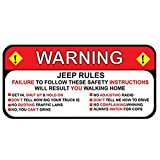 EARLFAMILY for Jeep Rules Warning Decal Sticker Wrangler Sahara Funny Vinyl Waterproof Car Styling Car Stickers