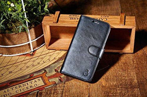 iphone ケース アイフォン本革 本物 100%手作り 良質レザー ボタン式留め 保護カバー 人気 ケース カードポケット・スタンド機能付き /軽量、薄型シンプルデザイン (Iphone 7, ブラック)