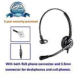 Telefon Headset mit Noise Cancelling Mikrofon büro CallCenter Kopfhörer mit RJ11 und 3.5mm Klinke für Festnetztelefonen Yealink Snom Grandstream Panasonic und Handy Smartphone PC Laptop Tablet Handy