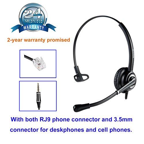 Telefon Headset mit Noise Cancelling Mikrofon büro CallCenter Kopfhörer mit RJ11 und 3.5mm Klinke für Festnetztelefonen Yealink Grandstream Panasonic und Handy Smartphone PC Laptop Tablet Handy