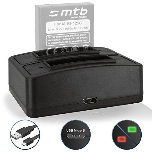 Caricabatteria doppio (USB) per Samsung IA-BH125C / Pentax D-Li106 / Ricoh DB-65 / Sigma BP-41 - vedi lista di compatibilità