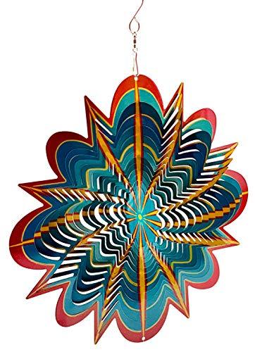 Dundee Deco W2340 Windspiel in Geschenkbox – 3D hängend Indoor Outdoor Garten Dekoration – Mandala – Hyper Splash – Rot Gelb Petrol – 30,5 cm – Einzigartige Geschenkidee für Männer und Frauen, Souvenir, Geschenk