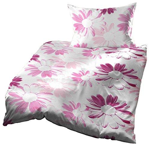 Gerald Wittmann Juego de Funda Nórdica Cama/Edredón de Microfibra, Flores, Morado/Púrpura/Violeta Rosa Blanco, 140x200 cm + 70x90 cm