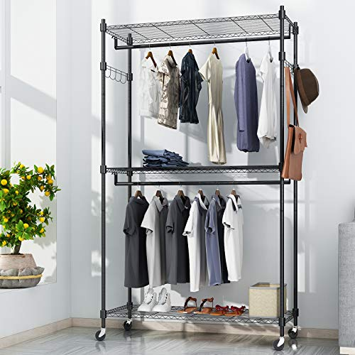 BATHWA 3-Tier Garment Rack Coat Rack Heavy Duty Wire Shelving Rolling Clothing Rack Large Wardrobe Closet Storage with Lockable Wheels 2 Hanging Rods and 2 Side Hooks Black
