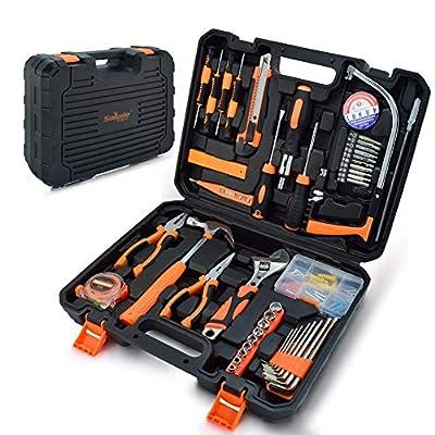 Home Repair Tool Set,General Household Orange Hand Tool Kit for Home Maintenance with Plastic Tool Box Storage