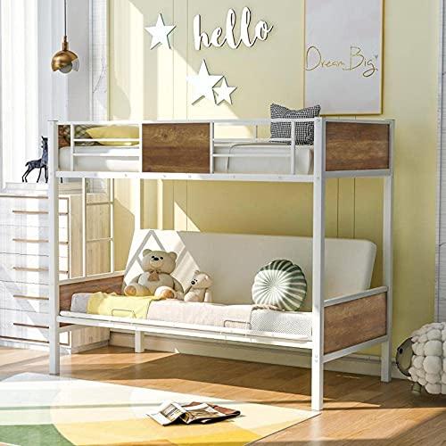 MWKL La litera de futón más Nueva con barandillas y Escalera para Adultos, sin Necesidad de somier