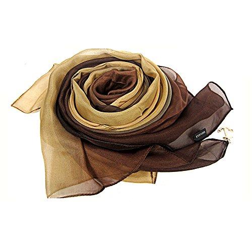 LoveSilk Lange Georgette Seidentuch 100% Seiden-schals Stola in Farbverlauf Farbe Kaffee/Khaki