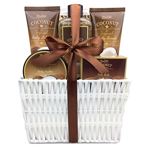 Spa Gift Basket and Bath Set with Refreshing Coconut Fragrance by Lovestee - Bath and Body Gift Set Includes Shower Gel Body Lotion Body Scrub Body Butter Bath Salt and Loofah Back Scrubber