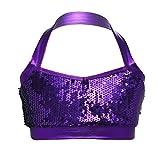 Freebily Kids Girls Glittery Sequined Halter Bra Tops Crop Top for Ballet Dance Gymnastic Stage Performance Costume Purple 14