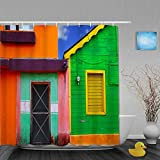 Aliciga Cortina de Ducha,Casas del Caribe en un Esquema de Colores Vibrantes en Isla Mujeres México América Latina Foto,Tejido de poliéster - con Gancho,180x180