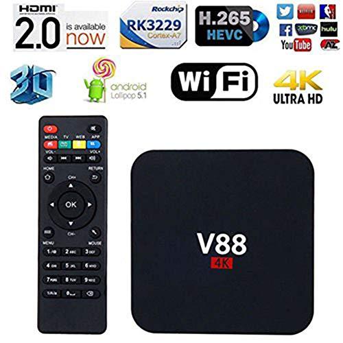 HCDMRE V88 4K Android 7,1 Smart TV Box Rockchip 3229 Quad Core 1G RAM 8GB ROM HD 1080P WiFi Media