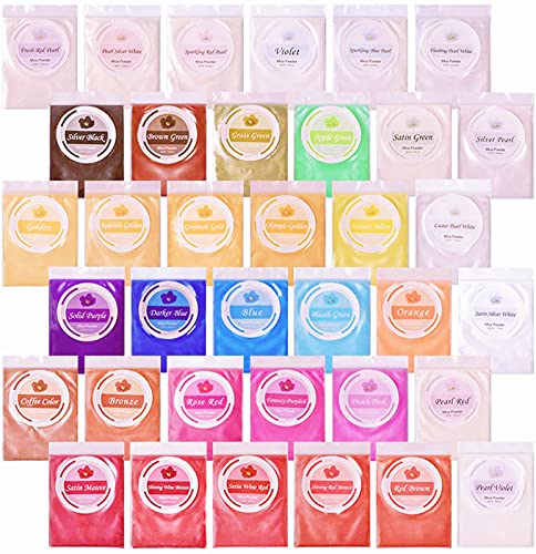 Mica Powder Natural Pigment-36 Beautiful Colors for Epoxy Resin, Lip Gloss, Soap Making, Candle Hand-Made, Nail Polish, Bath Bombs, DIY Crafts(5g/ 0.18oz Each)