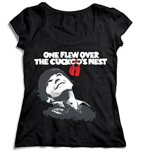 One Flew Over The Cuckoos Nest Jack Nicholson Hollywood Damen T-Shirt Black Men's Shirt Baumwolle Cotton Damen LG Women Black T-Shirt