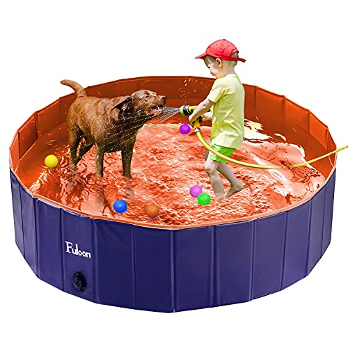 Fuloon Pet Pool PVC Pet Swimming Pool Portable Foldable Pool Dogs Cats Bathing Tub Bathtub Wash Tub Water Pond Pool & Kiddie Pools for Kids in The Garden, (100 x 28cm(39.4inch.D x 11inch.H), Orange)