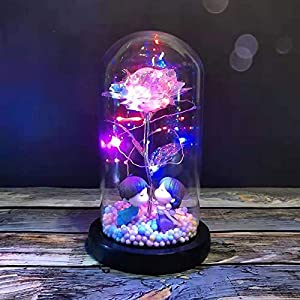 galaxy glass rose flower, 2 person within glass, colorful enchanted flower rose gifts for girlfriend, ladylove, lover birthday anniversary home decor silk flower arrangements