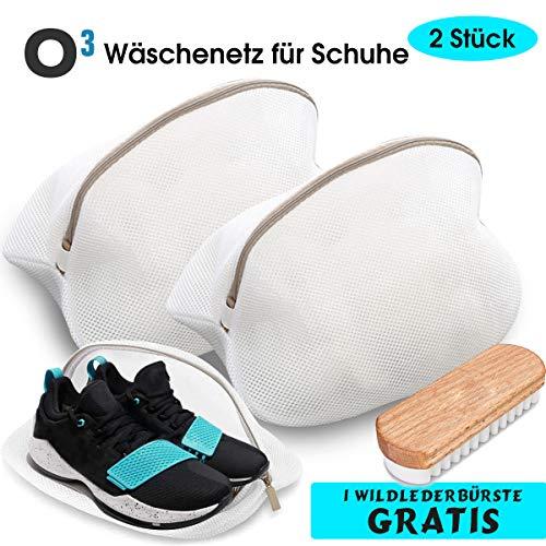 O³ Schuhe Wäschenetz // 2 Stück + Wildleder-Schuhbürste // Wäschebeutel für Waschmaschine // Schuhbeutel Schuhnetz