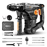 Rotary Hammer TACKLIFE 12.5A Higher Torque Motor, 7J Impact Energy, 4350BPM, 0-900RPM, SDS Plus with 4...