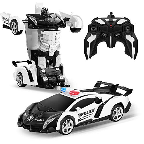 Transform RC Car Robot, Remote Control Car Independent 2.4G Robot Deformation Car Toy with One Button Transformation & 360 Rotation 1:18 Scale