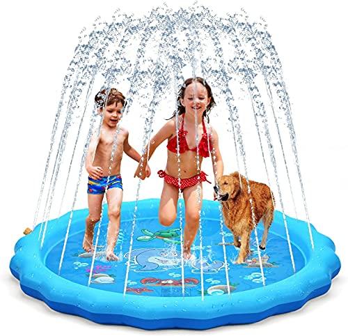 2021噴水マット プレイマット 最新設計 子供 親子 水遊び 芝生遊び プールマット 家庭用 夏対策 170CM直径 お誕生日 プレゼント