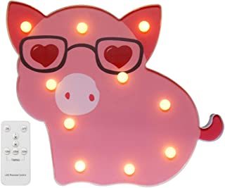 LED Pig Marquee Signs - Remote Timer Dimmable Piggy Decor Night Light Table Lamp for Child, Kids, Girls, Bedroom, Home Decorations - Pig