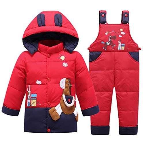 2 Pezzi Bambino Tuta da Sci Piumino con Cappuccio con Pantaloni con Bretelle da Neve Inverno Tuta da Neve Unisex Set di Abiti Rosso 2-3 Anni